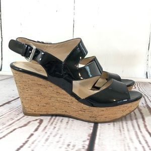 Nine West Patent Leather Cork Wedge Sandals 8